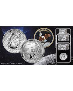 2019 美国阿波罗11号 50週年3枚珍藏套装 (NGC PF70UC 首日发行 - CHARLIE DUKE 签署标签)