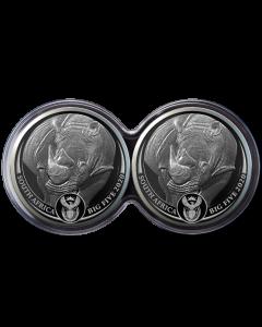 2020 南非五大动物系列 - 犀牛 .999 精铸银币1盎司 2 枚套装