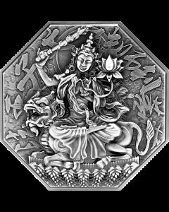 2021乍得共和国文殊藏菩萨高浮雕仿古银币5盎司