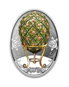 2020 纽埃岛法贝热彩蛋系列 - 玫瑰格子彩蛋 .999精铸银币16.81克