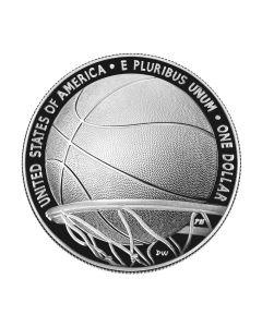 2020  美国篮球名人纪念堂 .999 精制银币 26.73克